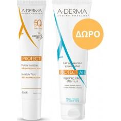 ΑDERMA PROMO PROTECT FLUIDE INVISIBLE SPF50+ 40ml & LAIT A.H. 100ML