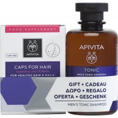 APIVITA Caps For Hair Συμπλήρωμα Διατροφής 30 Κάψουλες &Τονωτικό Σαμπουάν Κατά της Τριχόπτωσης για Άντρες 250ml