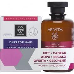 APIVITA Caps For Hair Συμπλήρωμα Διατροφής 30 Κάψουλες &Τονωτικό Σαμπουάν Κατά της Τριχόπτωσης για Γυναίκες 250ml