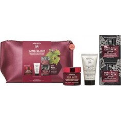 APIVITA WINE ELIXIR LIFTING LIGHT FACE CREAM 50ml & CLEANSING MILK 3 IN 1 & EXPRESS FACE MASK&bag