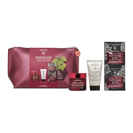 APIVITA WINE ELIXIR LIFTING RICH FACE CREAM 50ml & CLEANSING MILK 3 IN 1& EXPRESS FACE MASK & bag