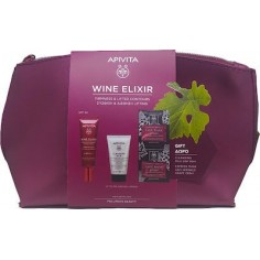 APIVITA WINE ELIXIR LIFTING DAY CREAM SPF 30 40ml + CLEANSING MILK 3 IN 1&EXPRESS FACE MASK&bag