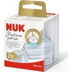 Nuk Nature Sense Θηλή Σιλικόνης Large 6-18m 2τμχ